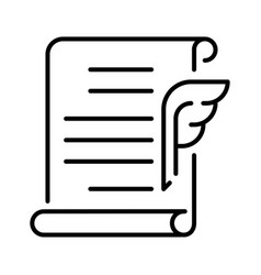 Outline simple signing contract icon vector