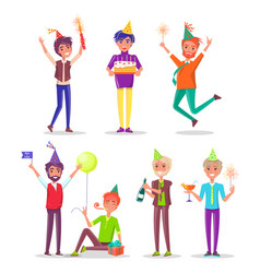 People holding birthday cake with candles party vector