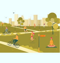 people in park spending free time doing sport vector image