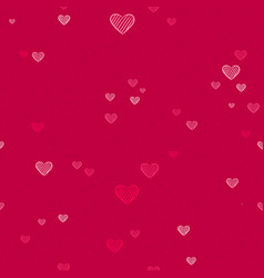 pink heart shape doodle love pattern background vector image
