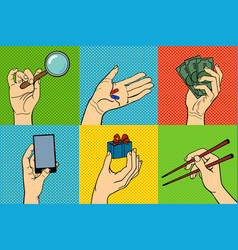 pop art hands vector image