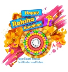 Raksha Bandhan background with rakhi and gift vector