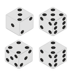 realistic white dices isolated on white vector image