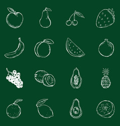 set chalkfruits icons vector image