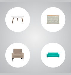 set of design realistic symbols with couch vector image