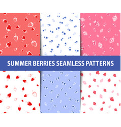 Set of summer berries seamless patterns vector
