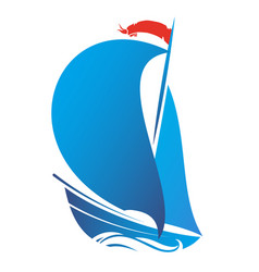 ship with sail vector image