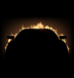 Silhouette of car with flame and fire vector