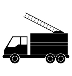 silhouette truck fire rescue urgency attention vector image