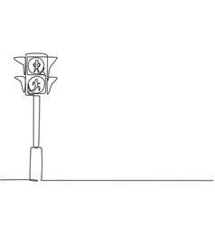 single one line drawing special traffic lights vector image