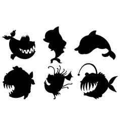Six silhouettes fishes with big fangs vector