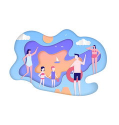 summer holiday - modern paper cut vector image