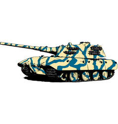 Tank is painted with ink vector