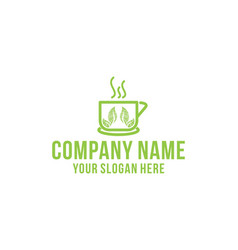 tea cup healthy logo design inspiration vector image