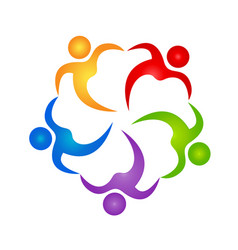 Teamwork people holding hands icon vector