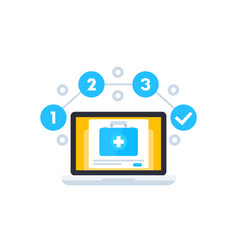 Telemedicine icon with first aid kit vector