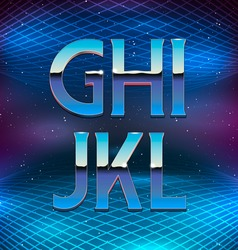 Thin Chrome Alphabet in 80s Retro Futurism style vector image