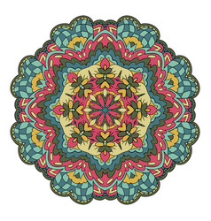 Traditional round ornament oriental pattern vector
