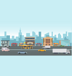 urban landscape with modern buildings and market vector image