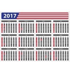 USA calendar 2017 - official holidays vector