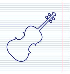 violin sign navy line icon vector image