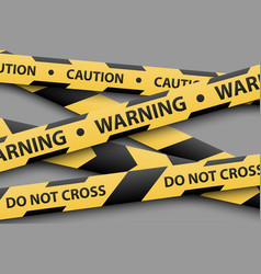 Warning sign yellow and black stripe tapes vector