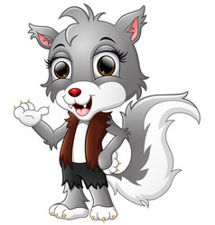 werewolf cartoon waving hand vector image