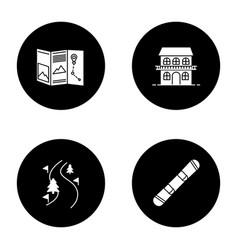 winter activities glyph icons set vector image