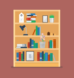 wooden shelves with books and object decoration vector image