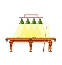 Wooden table for pool with long cues and lamps vector