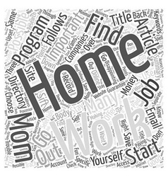 Work At Home Moms Word Cloud Concept vector