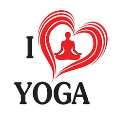 yoga love heart silhouette vector image