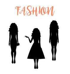 fashion woman silhouette with long hairstyle vector image