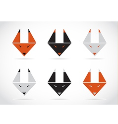 fox face icons set vector image vector image
