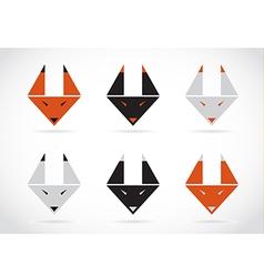 Fox face icons set vector