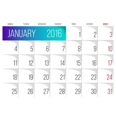 January 2016 planning calendar vector image vector image