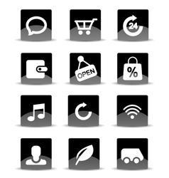 Modern black flat mobile app icon set vector image