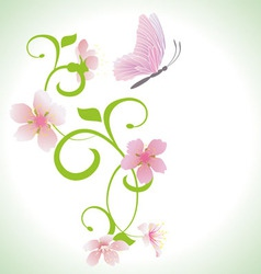 pink butterfly with pink spring flowers vector image vector image