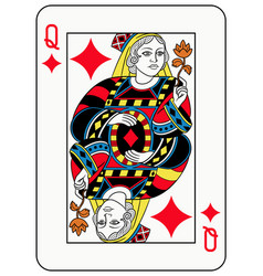 queen of diamonds french version vector image vector image