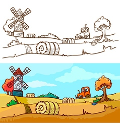 autunm harvesting vector image vector image