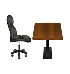 Black chair and wooden desk vector