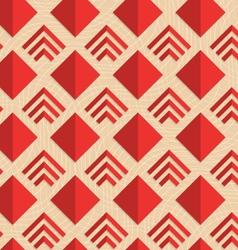 Retro fold red diamonds and stripes vector image