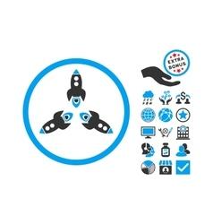 Rockets Flat Icon With Bonus vector image vector image