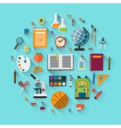 School background with education icons set vector image vector image