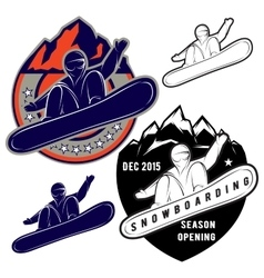set badges for extreme sports snowboarding vector image