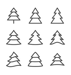 Set of Nine Xmas Trees Thin Line vector image vector image