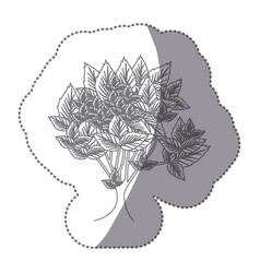 sticker gray color leafy tree with several leaves vector image vector image