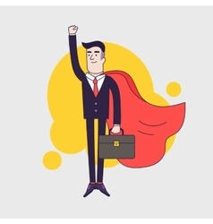 Young serious businessman superhero flying with vector image