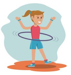 character girl doing hula hoops play vector image vector image