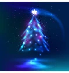 Christmas tree dark glowing background vector image